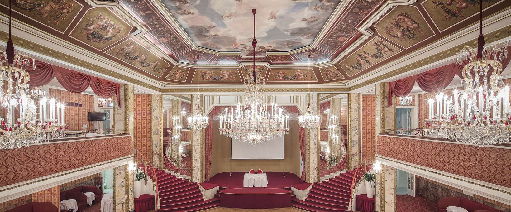 Ballroom stage with stairs and lounges | Parkhotel Schönbrunn in Vienna