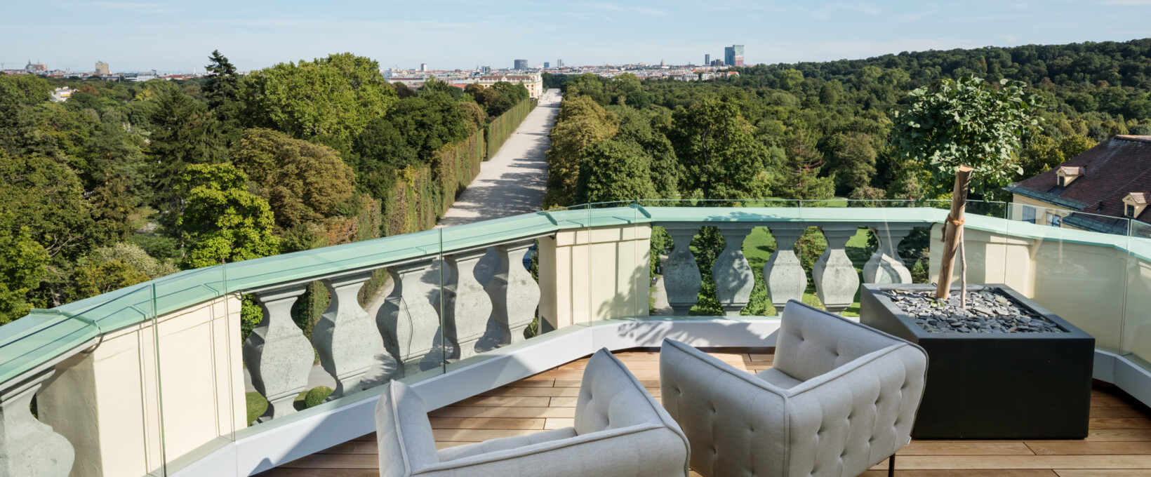 Kaiser Suite rooftop terrace with view over Schönbrunn Palace Gardens  | Parkhotel Schönbrunn in Vienna