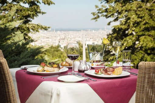 View terrace with laid table | Hotel Schloss Wilhelminenberg in Vienna
