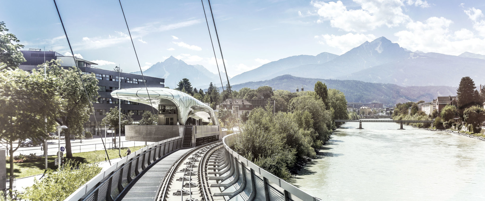 Hungerburg train tracks at the river | Innsbruck