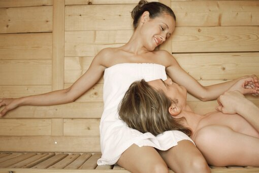 Couple in the sauna
